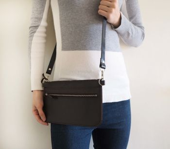 Genuine Hand Stitched Leather Zipped Waist & Shoulder Bag - Dark Brown