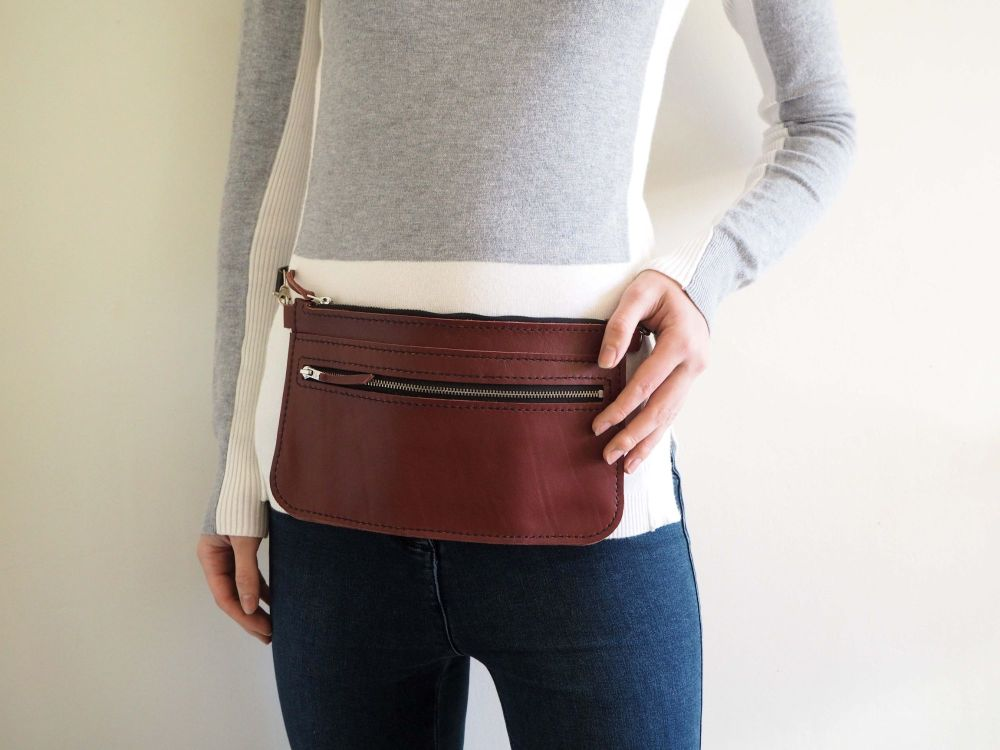 Genuine Hand Stitched Leather Zipped Waist Bag - Oxblood Red