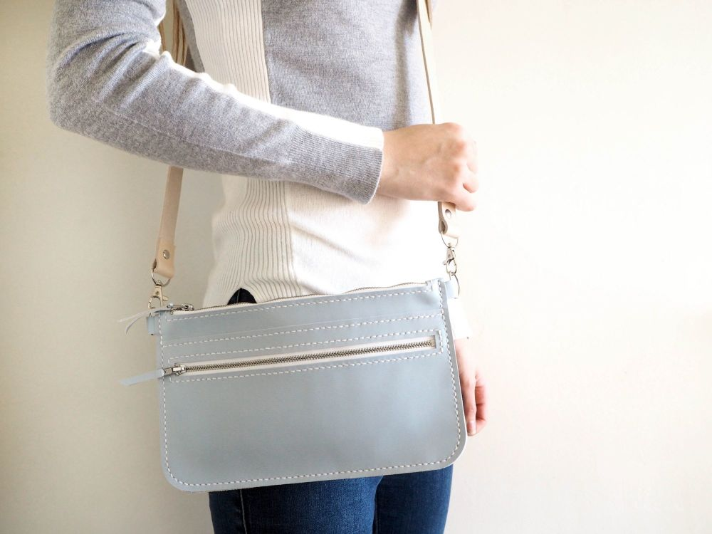Genuine Hand Stitched Leather Zipped Waist & Shoulder Bag - Pastel Blue