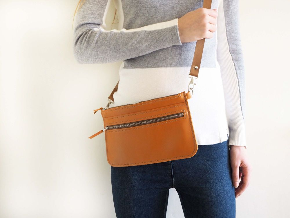 Genuine Hand Stitched Leather Zipped Waist & Shoulder Bag - Orange
