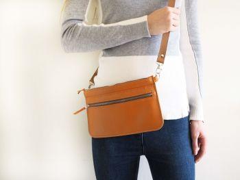 Genuine Hand Stitched Leather Zipped Waist & Shoulder Bag - Orange