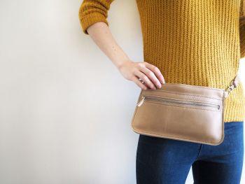 Genuine Hand Stitched Leather Zipped Waist & Shoulder Bag - Camel Brown