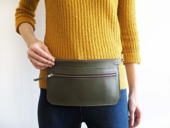 Genuine Hand Stitched Leather Zipped Waist & Shoulder Bag - Khaki Green