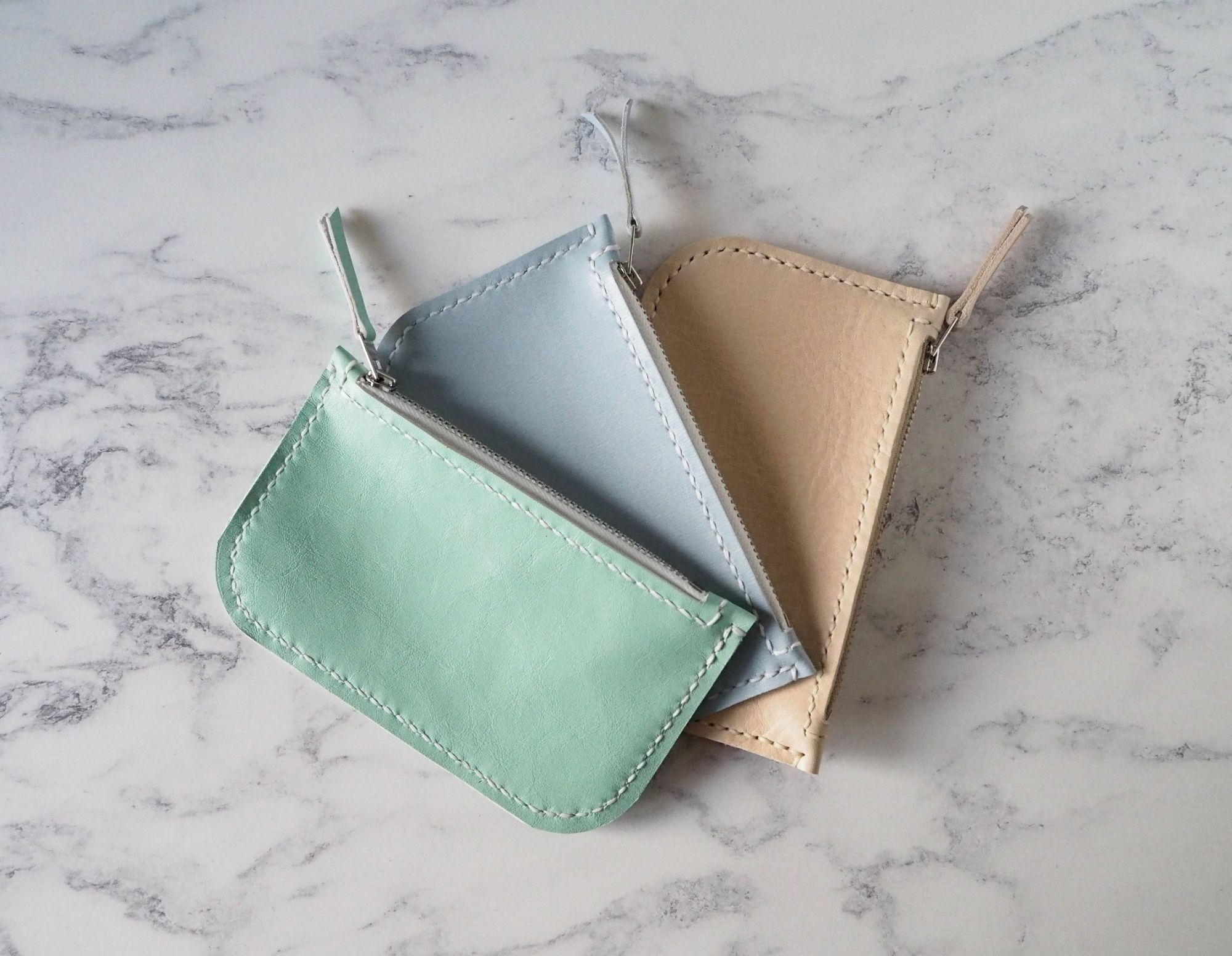 Pastel Coloured Leather Zip Purses
