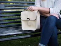 Genuine Hand Stitched Leather Messenger Bag - Thick Cream