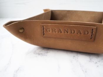 Genuine Handmade Tan Brown Leather Coin / Valet Tray - Gift for GRANDAD