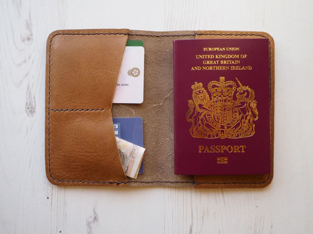 Genuine Leather Handmade Passport Holder - Tan Brown