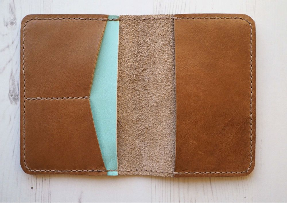 Genuine Leather Handmade Passport Holder - Tan Brown & Mint Green