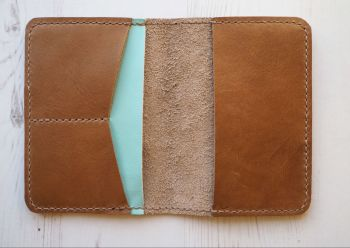 Genuine Leather Handmade Passport Holder - Tan Brown & Mint Green