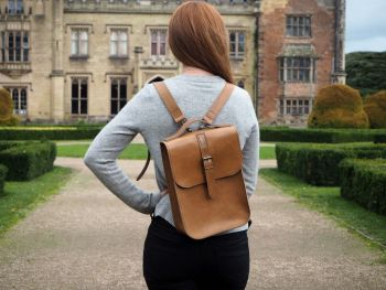 Genuine Hand Stitched Convertible Leather Backpack & Shoulder Bag - Thick Tan Brown