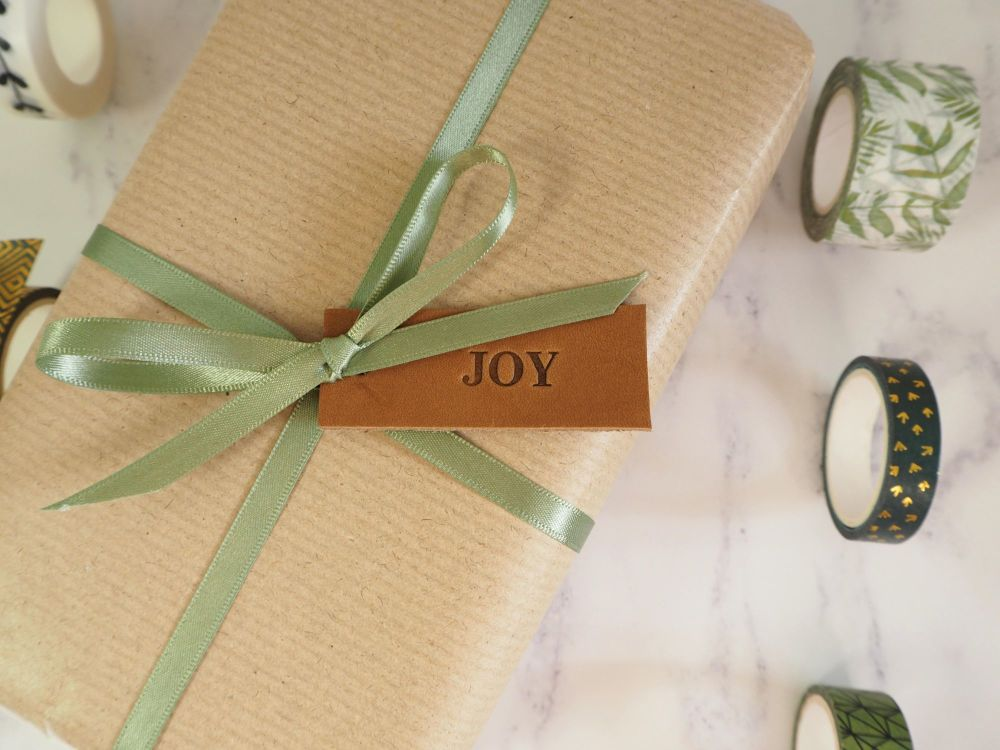 Leather Joy Tags - Reusable Gift Tags, Wedding Favour Tags - Tan Brown