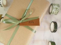 Handmade Leather Joy Tags - Set of 10 - Reusable Gift Tags, Wedding Favour Tags - Tan Brown
