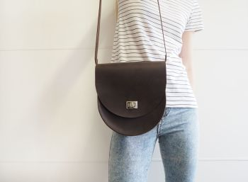 Genuine Hand Stitched Leather Saddle Bag - Thick Rustic Brown