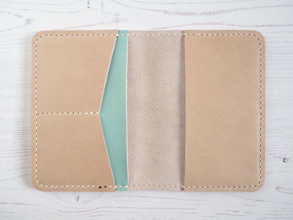 Genuine Leather Handmade Passport Holder - Cream & Mint Green