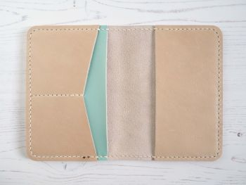 Genuine Leather Handmade Passport Holder - Cream & Mint Green
