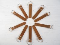 Handmade Leather Personalised Single Initial Key Ring - Tan Brown