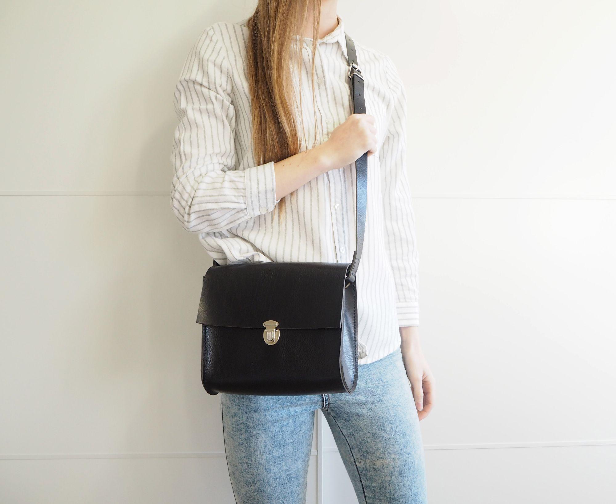 Hand Stitched Black Leather Utility Shoulder Bag