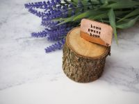 Wooden Log & Copper Quote Display - Home Sweet Home