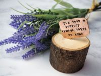 Wooden Log & Copper Quote Display - Journey