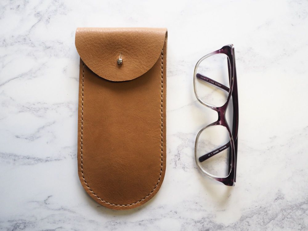 Hand Stitched Leather Glasses Sleeve - Tan Brown - Rounded Style