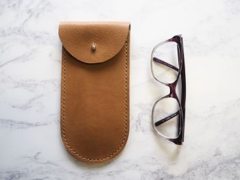 Genuine Leather Glasses Sleeve - Tan Brown - Rounded Style
