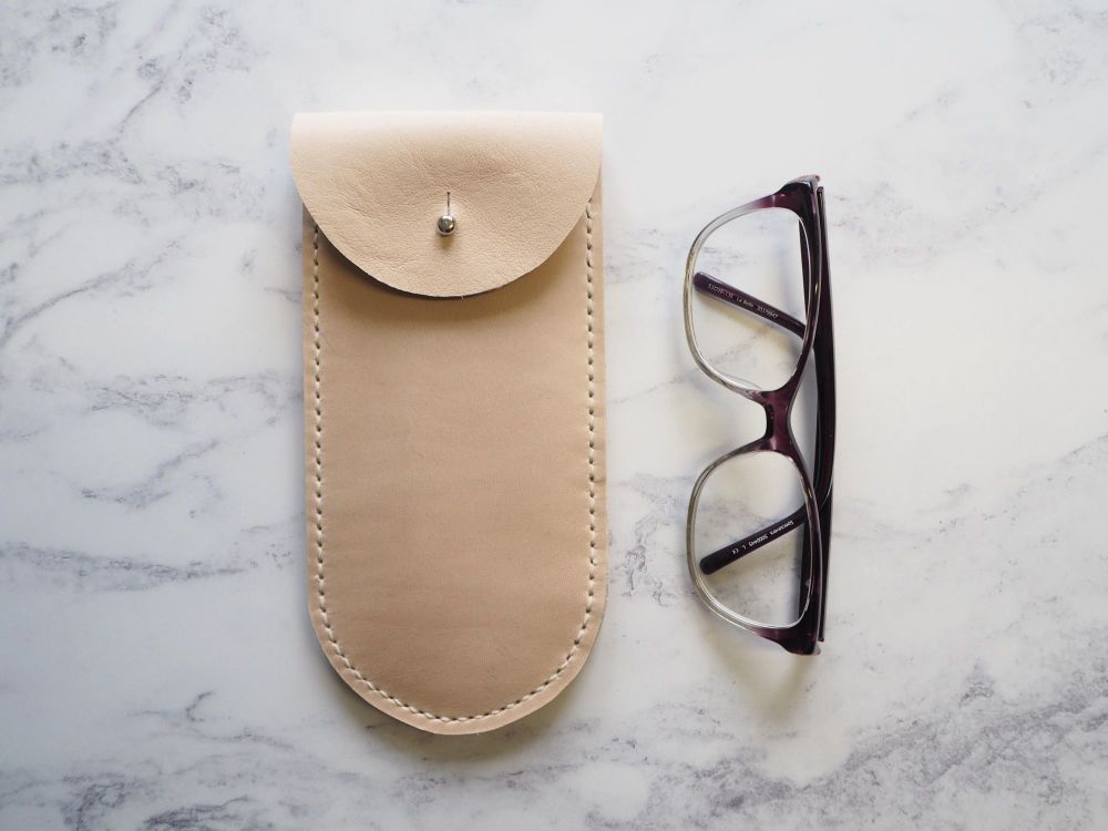 Genuine Leather Glasses Sleeve - Natural Cream - Rounded Style