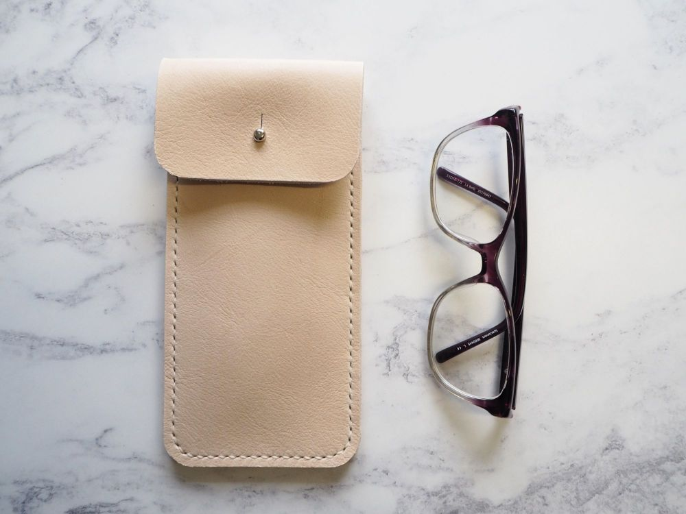 Genuine Leather Glasses Sleeve - Natural Cream - Rectangular Style