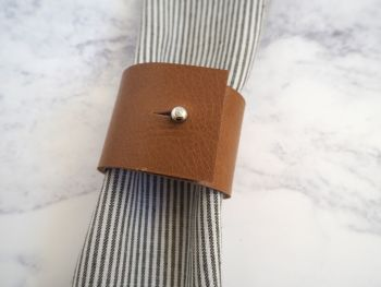 Handmade Leather Napkin Rings - Tan Brown - Single Ring