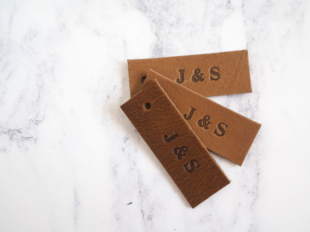 Personalised Handmade Leather Tags - Set of 10 - Reusable Gift Tags, Weddin