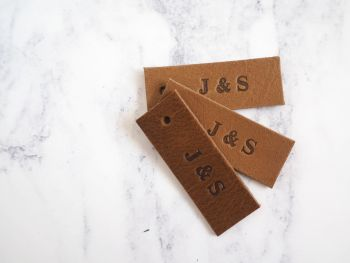 Personalised Handmade Leather Tags - Set of 10 - Tan Brown - Reusable Gift Tags, Wedding Favour Tags - Tan Brown