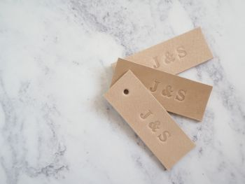 Personalised Handmade Leather Tags - Set of 10 - Natural Cream - Reusable Gift Tags, Wedding Favour Tags - Tan Brown
