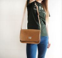 Genuine Hand Stitched Leather 'Abigail' Bag - Thick Tan Brown