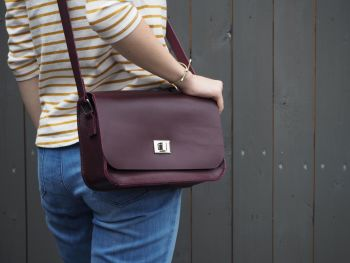 Genuine Hand Stitched Leather 'Abigail' Bag - Maroon