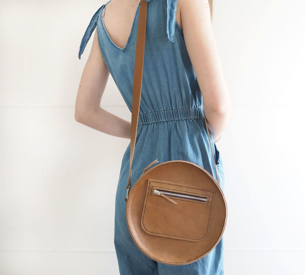 Genuine Hand Stitched Leather Circular Bag - Thick Tan Brown