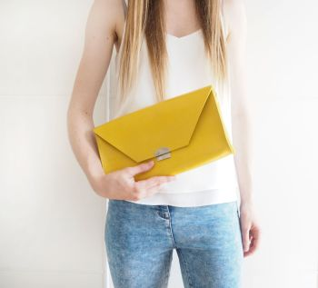 Genuine Hand Stitched Leather 'Chloe' Clutch Bag - Hand Dyed Yellow