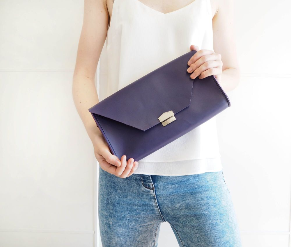 Genuine Hand Stitched Leather 'Chloe' Clutch Bag - Purple