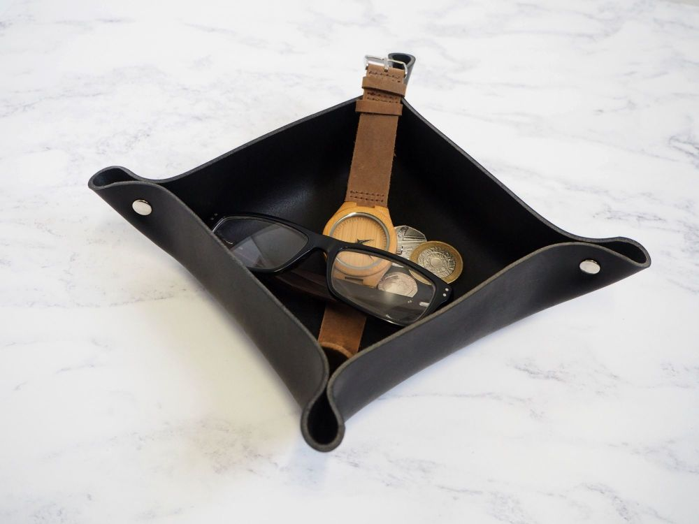 Genuine Handmade Black & Silver Leather Coin / Valet Tray