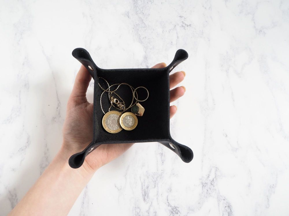 Genuine Handmade SMALL Black Leather Coin / Valet Tray
