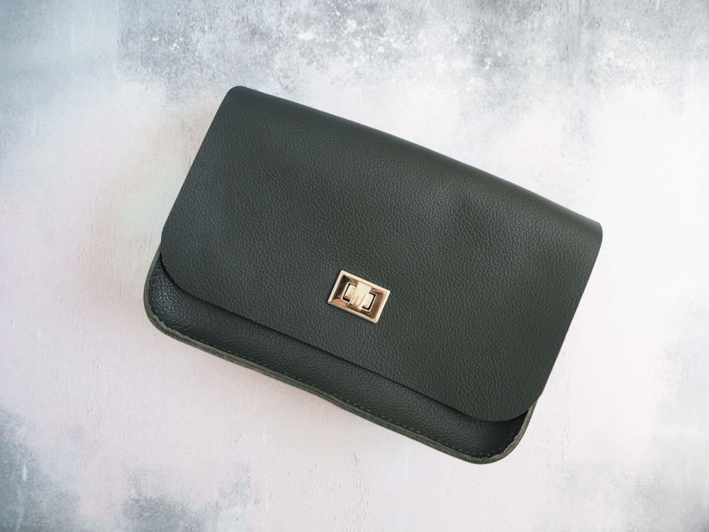 Genuine Hand Stitched Leather 'Abigail' Bag - Dark Textured Green