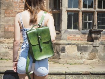 Genuine Hand Stitched Leather Backpack - Hand Dyed Forest Green