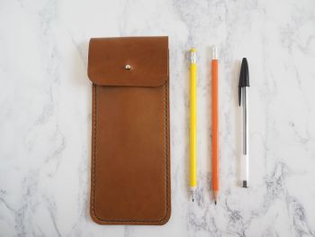 Genuine Leather Pencil Case Sleeve - Tan Brown
