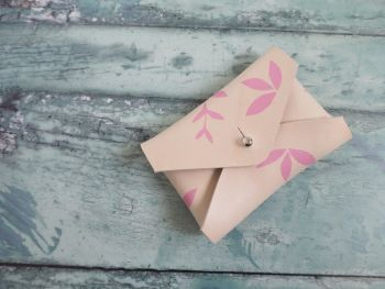 Hand Painted Leather Coin Purse, Pink Botanical Leaf Pattern, Card Holder Pouch
