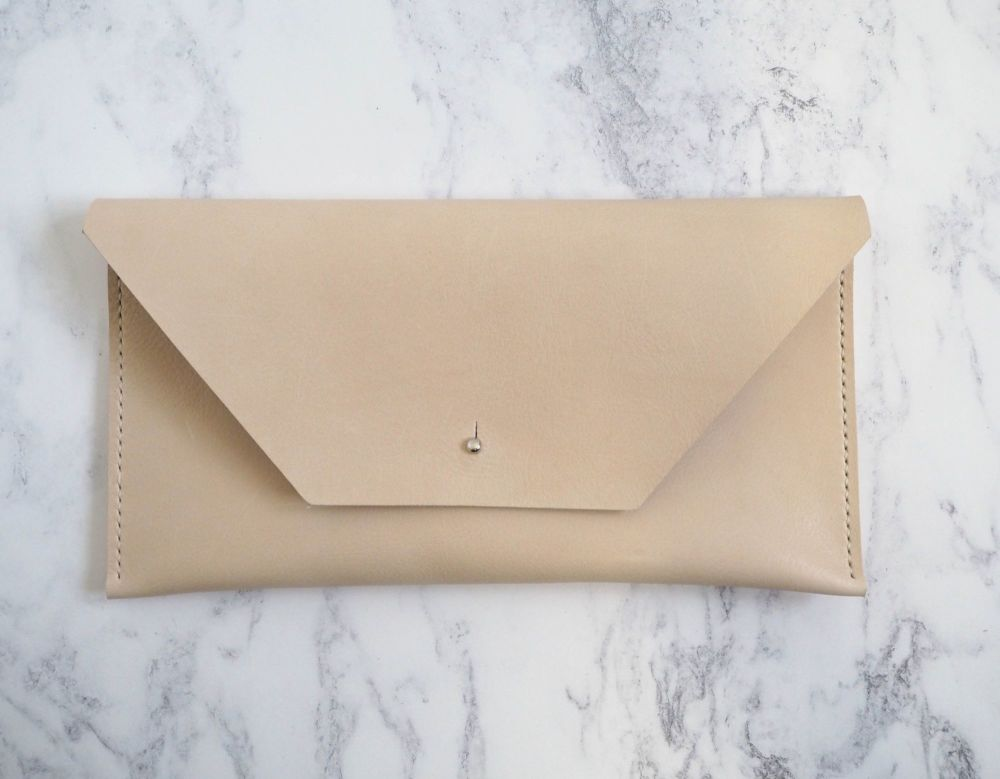 Genuine Hand Stitched Leather Clutch Bag - Thick Cream