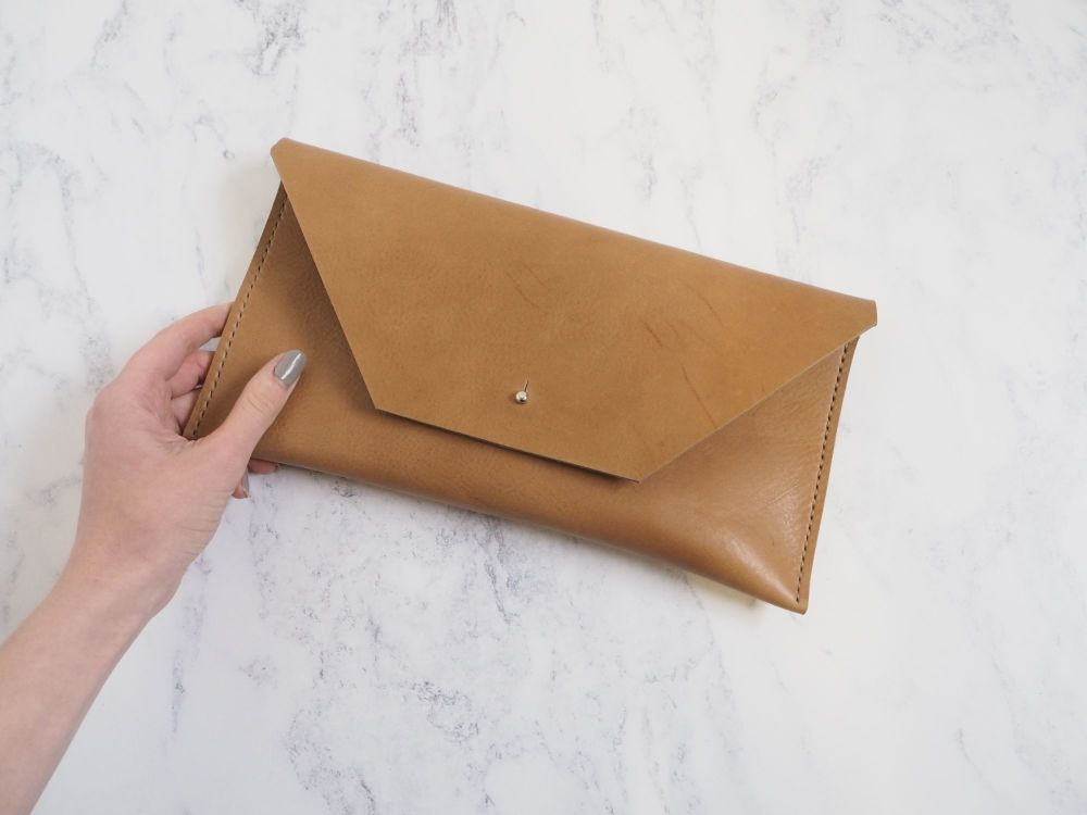 Genuine Hand Stitched Leather Clutch Bag - Thick Tan Brown