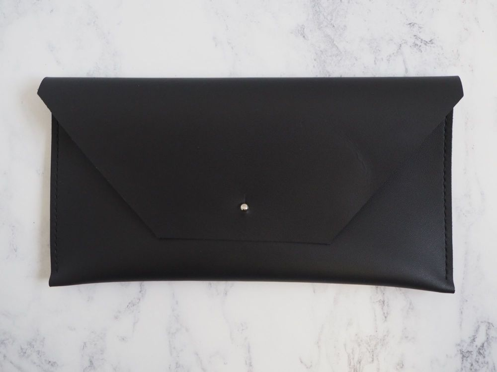 Genuine Hand Stitched Leather Clutch Bag - Black
