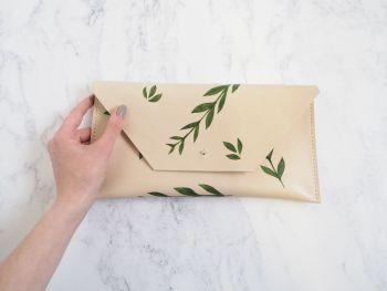 Genuine Hand Stitched Leather Clutch Bag - Green Botanical Leaf