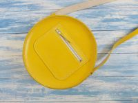 Genuine Hand Stitched Leather Circular Bag - Hand Dyed Yellow