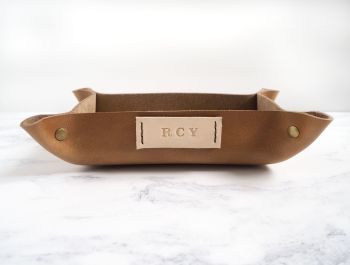 Genuine Handmade Tan Brown Leather Coin / Valet Tray - Small Rectangle with Cream Tag - Personalised Gift