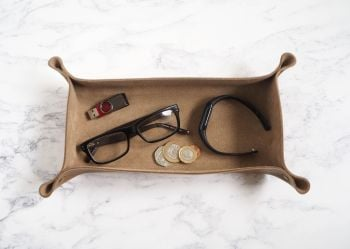 Genuine Handmade Tan Brown Leather Coin / Valet Tray - Large Rectangle - Personalised Gift