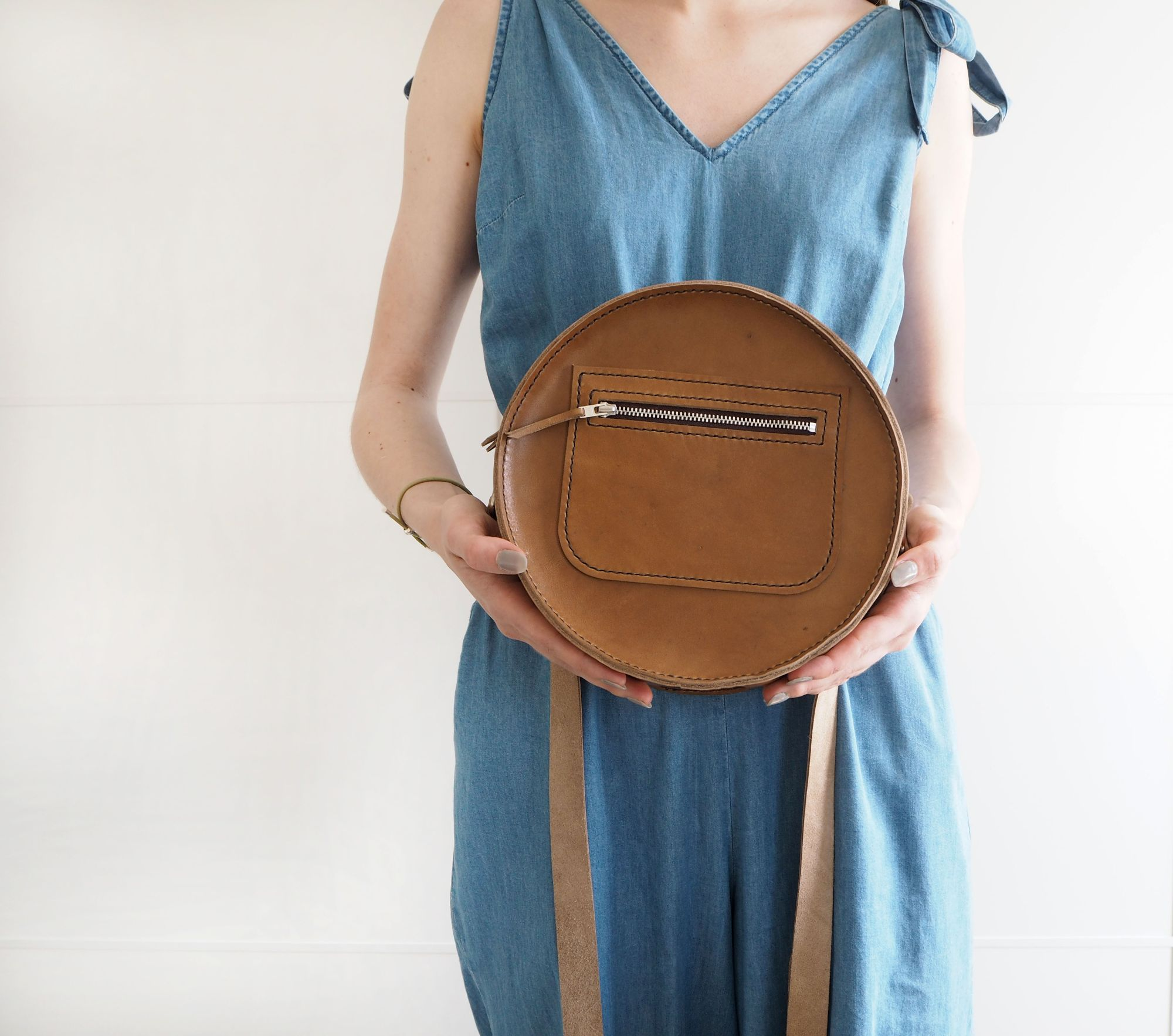 Tan Brown Round Leather Bag